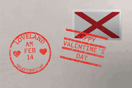 Postage stamp envelope with Alabama US flag and Valentine s Day stamps, vector
