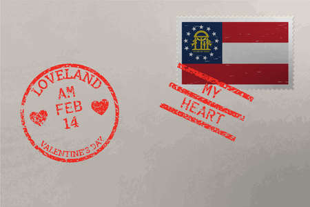 Postage stamp envelope with Georgia US flag and Valentine s Day stamps, vector
