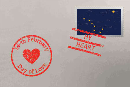 Postage stamp envelope with Alaska US flag and Valentine s Day stamps, vector