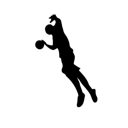 Silhouette of basketball player with ball in attack on basketball hoop, right view, vector image 向量圖像