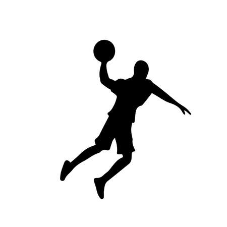 Silhouette of basketball player with ball in attack on basketball hoop, front view, vector image