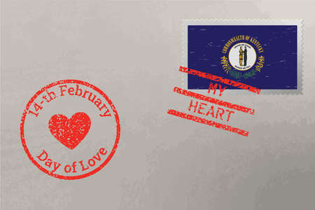 Postage stamp envelope with Kentucky US flag and Valentine s Day stamps, vector