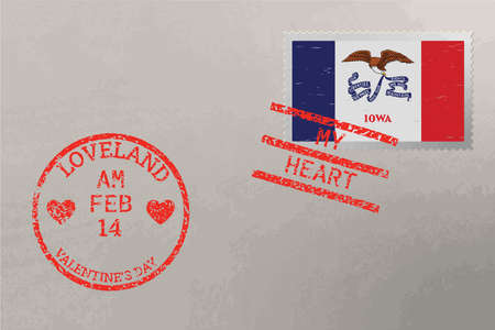 Postage stamp envelope with Indiana US flag and Valentine s Day stamps, vector 矢量图像