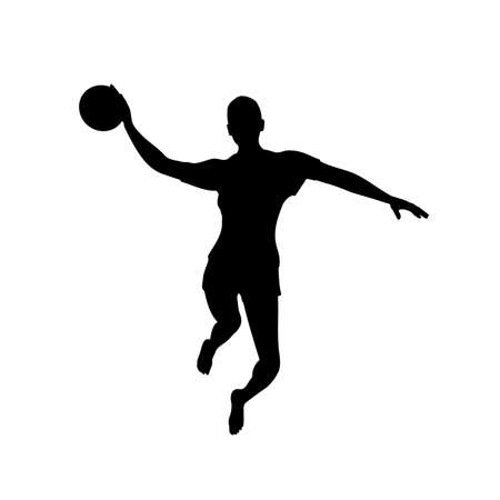 Barefoot woman basketball player in attack on basketball hoop, front view, vector image 矢量图像
