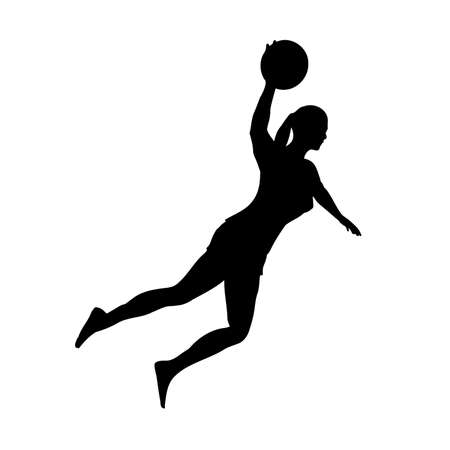 Barefoot woman basketball player in attack on basketball hoop, left view, vector image 矢量图像
