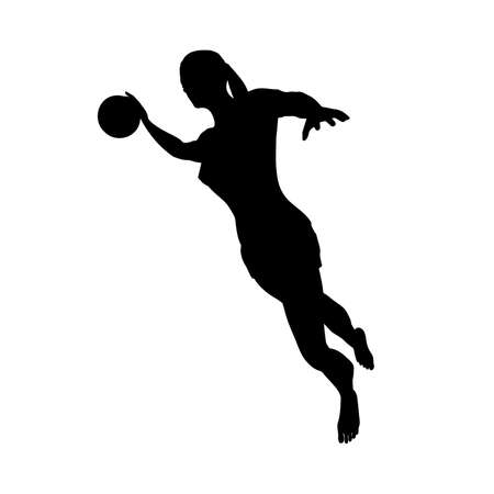 Barefoot woman basketball player in attack on basketball hoop, right view, vector image 矢量图像