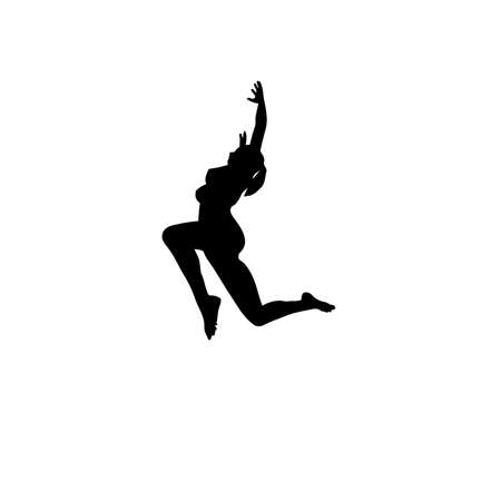 Silhouette of a dancing woman in a jump, right view, vector image