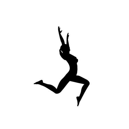 Silhouette of a dancing woman in a jump, left view, vector image 矢量图像