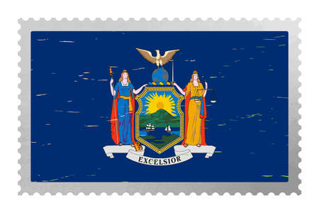 New York USA flag on old postage stamp, vector 矢量图像