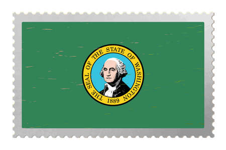 Washington USA flag on old postage stamp, vector