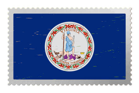 Virginia USA flag on old postage stamp, vector