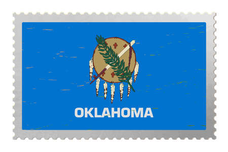 Oklahoma USA flag on old postage stamp, vector