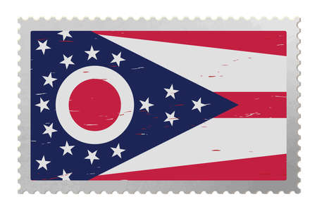 Ohio USA flag on old postage stamp, vector