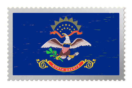 North Dakota USA flag on old postage stamp, vector