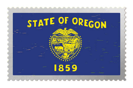 Oregon USA flag on old postage stamp, vector