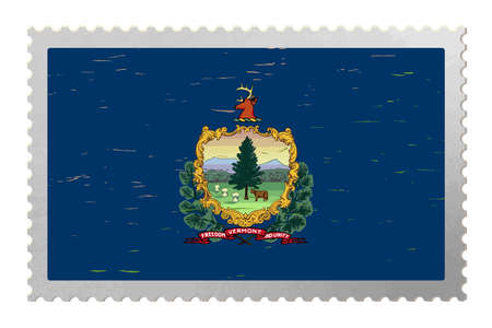 Vermont USA flag on old postage stamp, vector