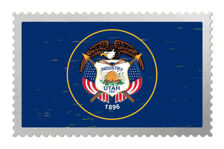 Utah USA flag on old postage stamp, vector 矢量图像