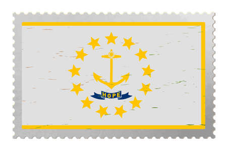 Rhode Island USA flag on old postage stamp, vector 矢量图像