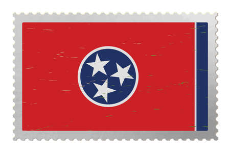 Tennessee USA flag on old postage stamp, vector