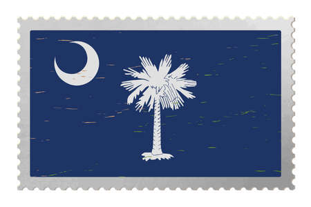 South Carolina USA flag on old postage stamp, vector 矢量图像