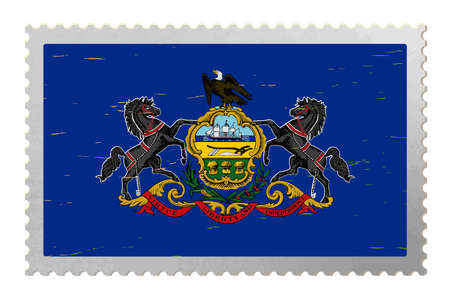 Pennsylvania USA flag on old postage stamp, vector