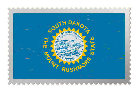 South Dakota USA flag on old postage stamp, vector
