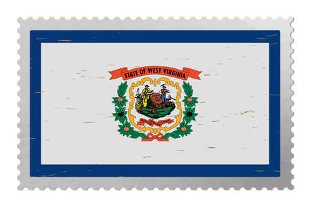 West Virginia USA flag on old postage stamp, vector 矢量图像