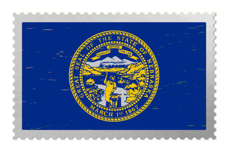 Nebraska USA flag on old postage stamp, vector