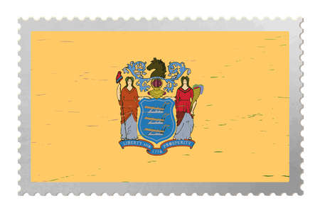 New Jersey USA flag on old postage stamp, vector