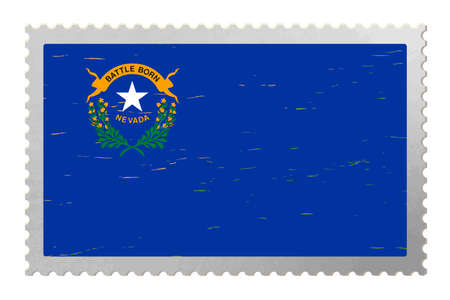 Nevada USA flag on old postage stamp, vector