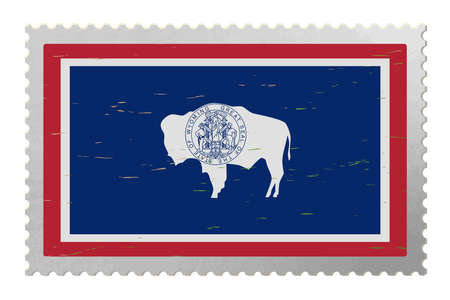 Wyoming USA flag on old postage stamp, vector