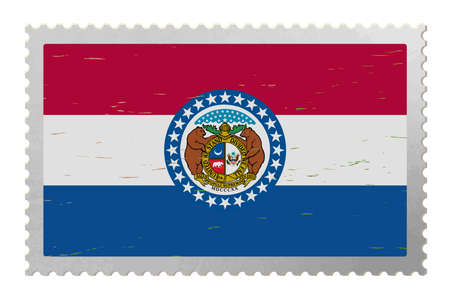 Missouri USA flag on old postage stamp, vector