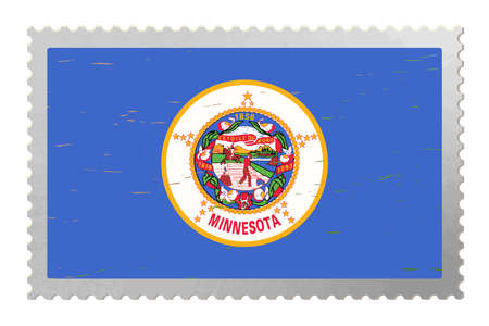 Minnesota USA flag on old postage stamp, vector