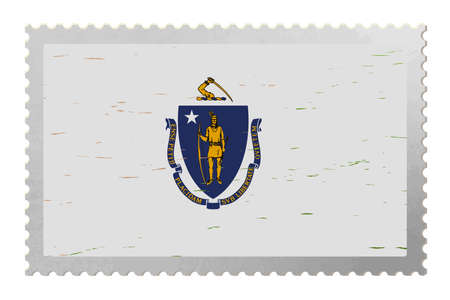 Massachusetts USA flag on old postage stamp, vector