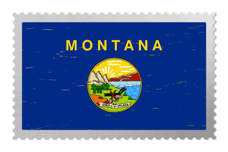 Montana USA flag on old postage stamp, vector