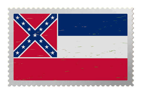 Mississippi USA flag on old postage stamp, vector 免版税图像