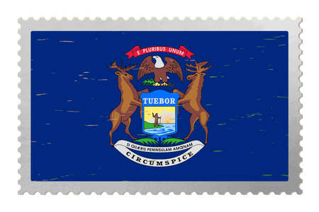 Michigan USA flag on old postage stamp, vector 免版税图像