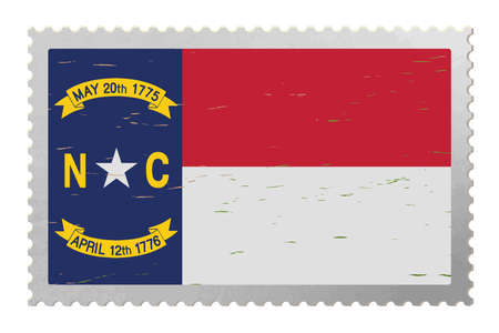 North Carolina USA flag on old postage stamp, vector