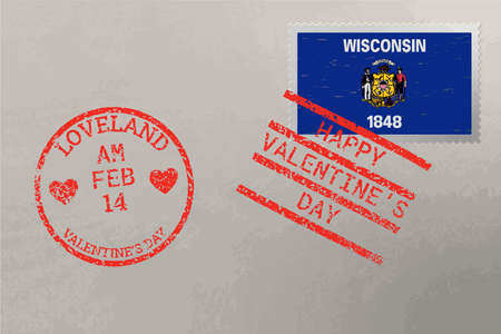 Postage stamp envelope with Wisconsin USA flag and Valentine s Day stamps, vector