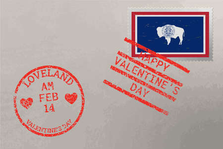 Postage stamp envelope with Wyoming USA flag and Valentine s Day stamps, vector