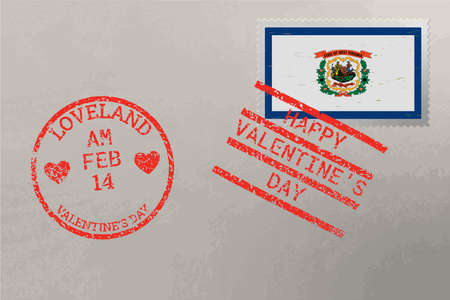 Postage stamp envelope with West Virginia USA flag and Valentine s Day stamps, vector