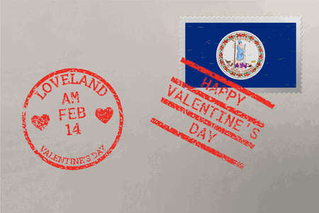 Postage stamp envelope with Virginia USA flag and Valentine s Day stamps, vector 免版税图像