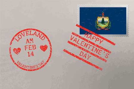 Postage stamp envelope with Vermont USA flag and Valentine s Day stamps, vector