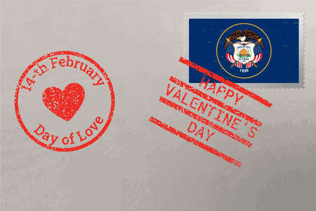 Postage stamp envelope with Utah USA flag and Valentine s Day stamps, vector 免版税图像