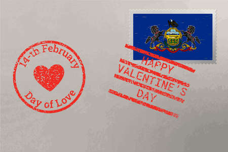 Postage stamp envelope with Pennsylvania USA flag and Valentine s Day stamps, vector 免版税图像