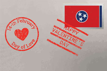 Postage stamp envelope with Tennessee USA flag and Valentine s Day stamps, vector