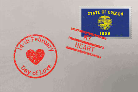 Postage stamp envelope with Oregon USA flag and Valentine s Day stamps, vector