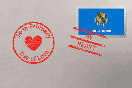 Postage stamp envelope with Oklahoma USA flag and Valentine s Day stamps, vector
