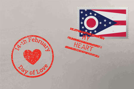 Postage stamp envelope with Ohio USA flag and Valentine s Day stamps, vector