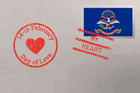 Postage stamp envelope with North Dakota USA flag and Valentine s Day stamps, vector